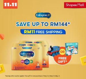 Shopee Mall:现在购买Enfagrow A+ 可省下高达RM144!